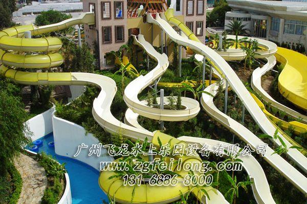大型水上乐园设备厂家-敞开螺旋滑梯FL-HT-001